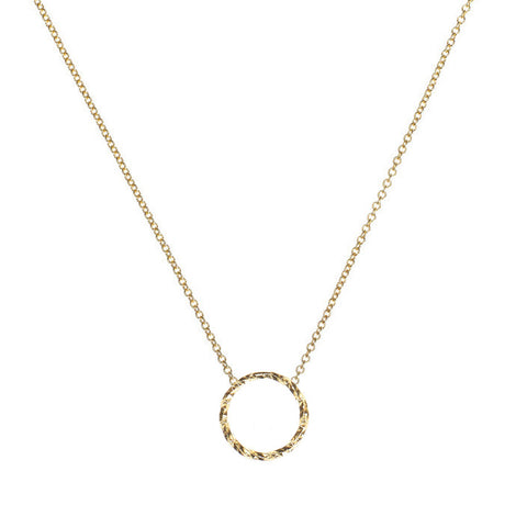 Protective Circle necklace in gold.