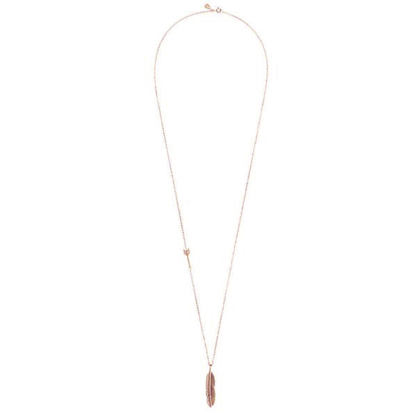 Sacred Feather and Arrow Necklace - Rose Gold