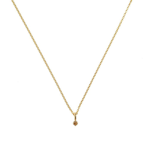 Champagne Diamond Pendant Necklace - Gold