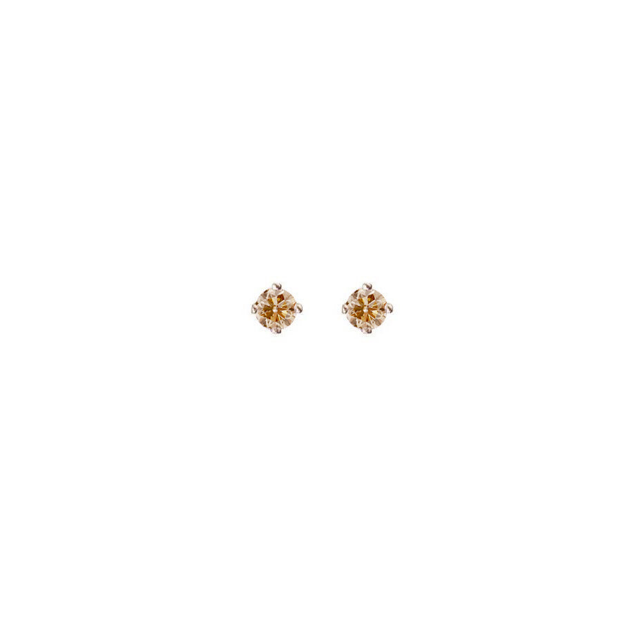 Champagne Diamond Micro Stud Earring - 9ct gold