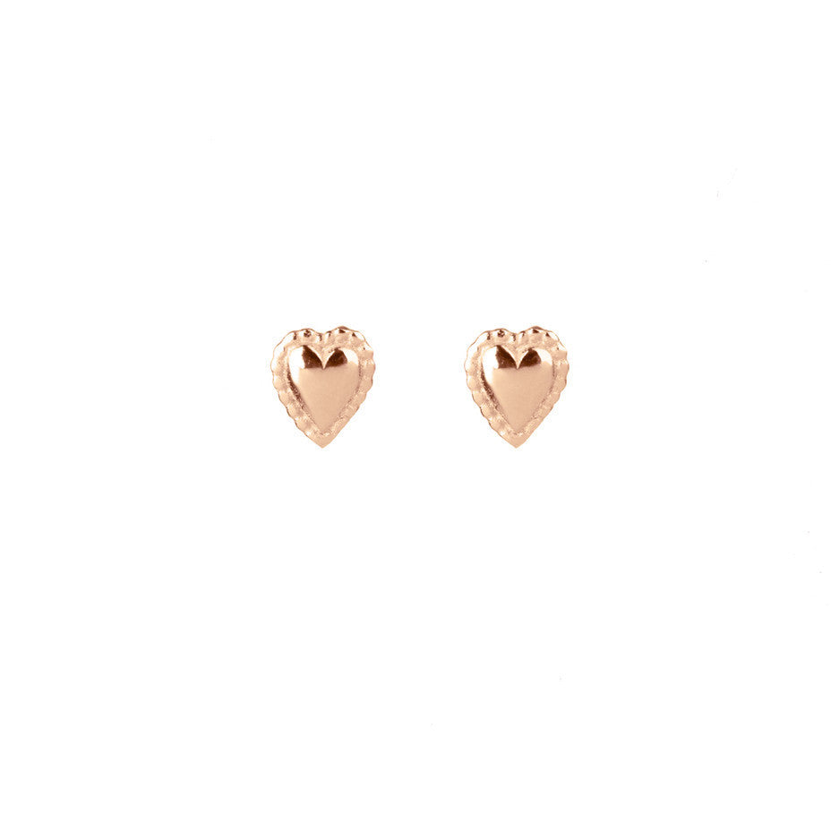 Darling Mini Heart Stud earrings in rose gold, featuring tiny puffed hearts with a beaded edge.