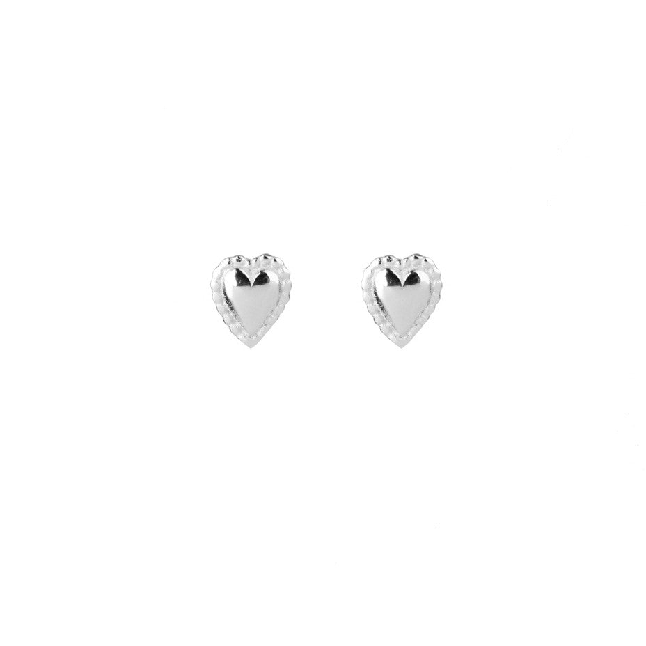 Darling Mini Heart Stud earrings in silver, featuring tiny puffed hearts with a beaded edge.