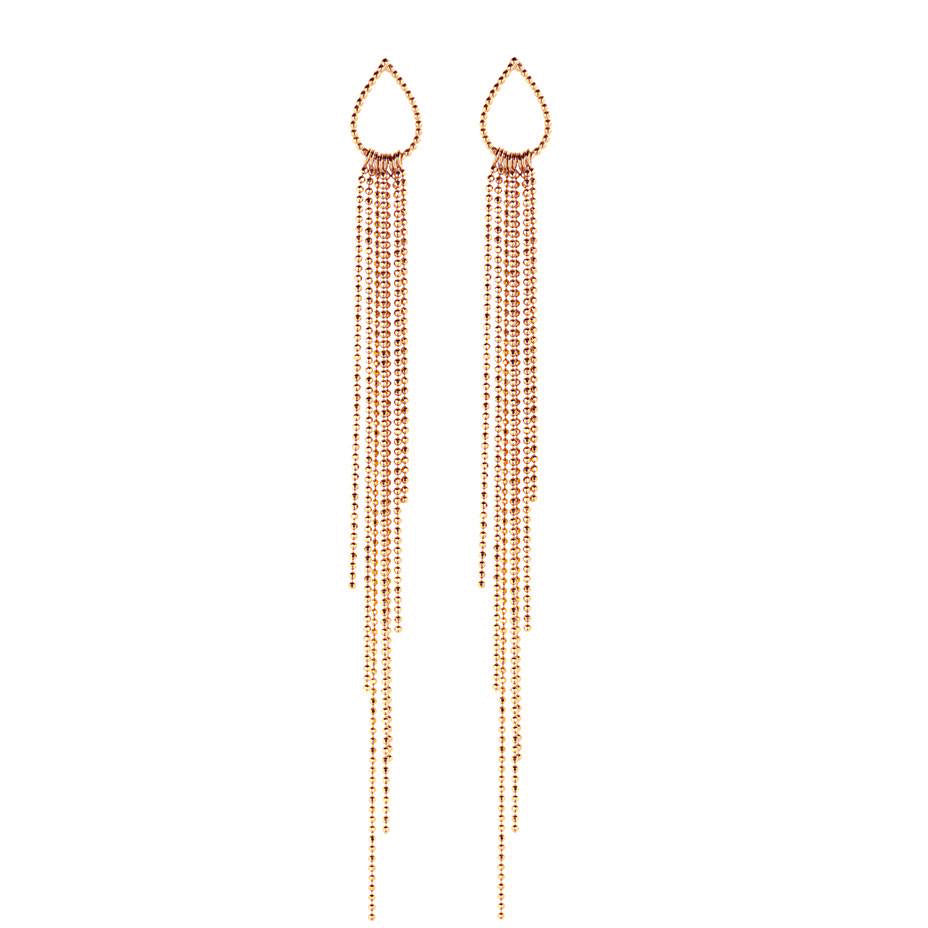 Dew Drop Waterfall Earrings - Rose Gold