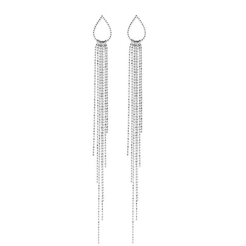 Dew Drop Waterfall earrings in silver, a shimmering show stopper whilst remaining elegant and sophisticated.