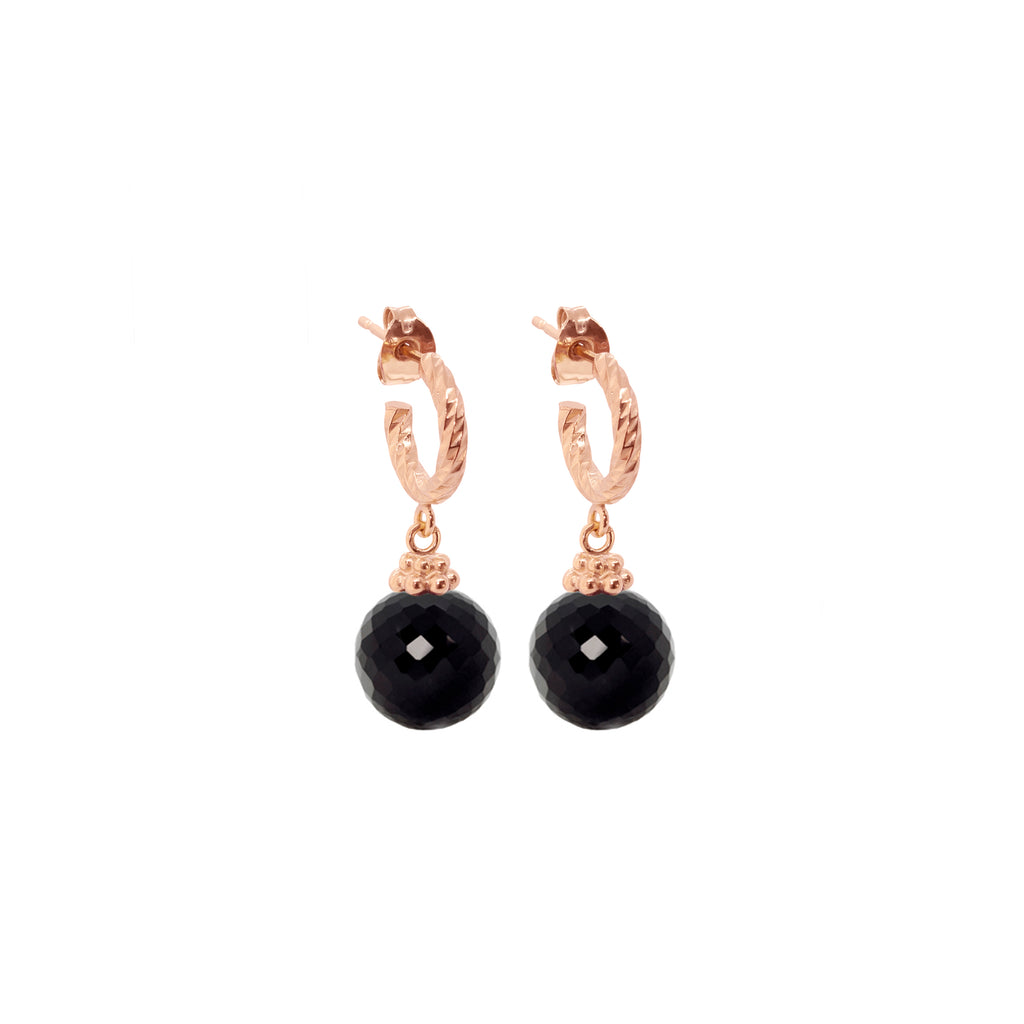 Black Spinel Disco Ball Earrings - Rose Gold