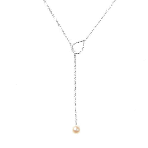 Full Moon White Pearl Lariat Necklace - Silver