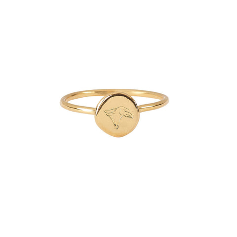 Time Eagle Stacking ring in gold, made from a finely engraved head of an eagle decorating a smooth gold coin.