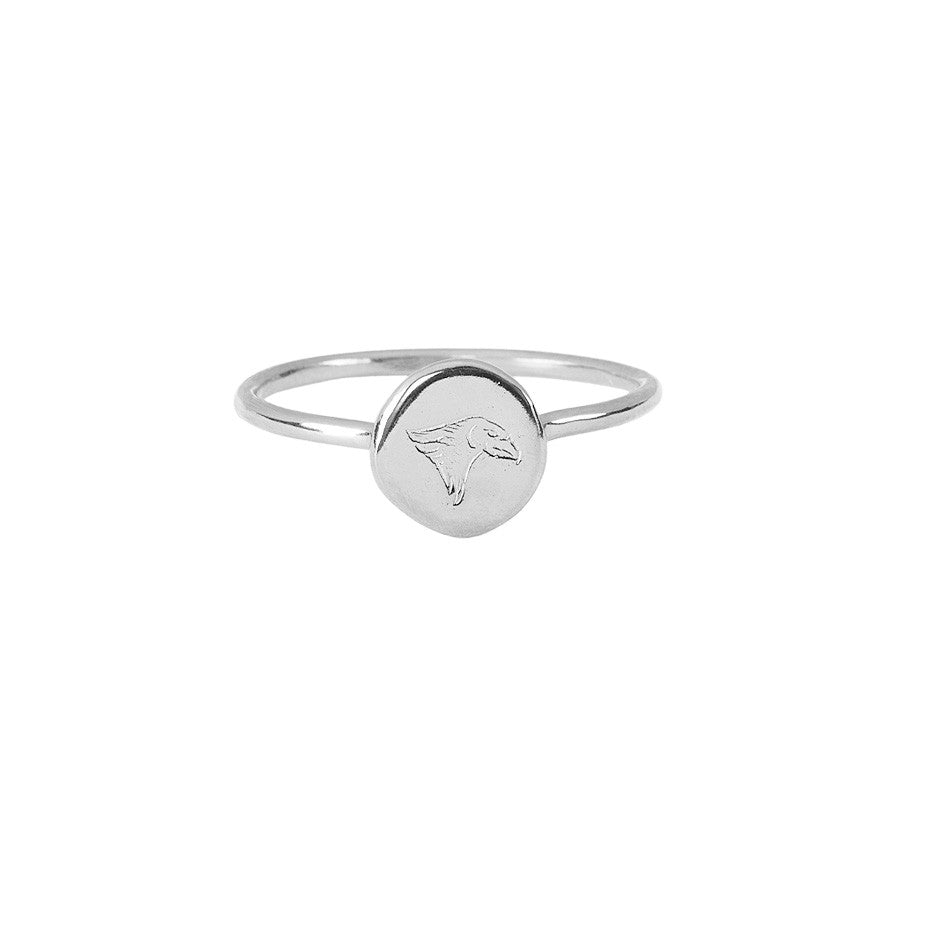 Time Eagle Stacking ring in silver, made from a finely engraved head of an eagle decorating a smooth gold coin.