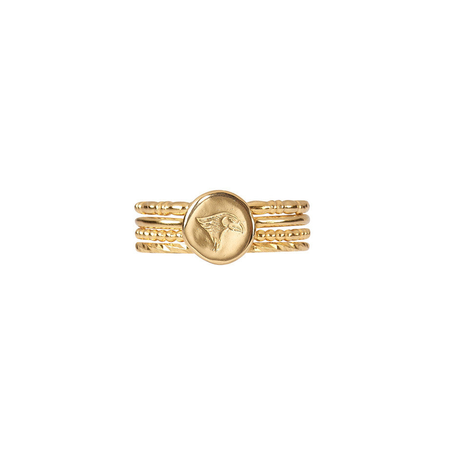 Precious Time Stacking Set in gold, featuring our Eagle Time ring and beaded, bridle and mulitfaceted sparkling bands.