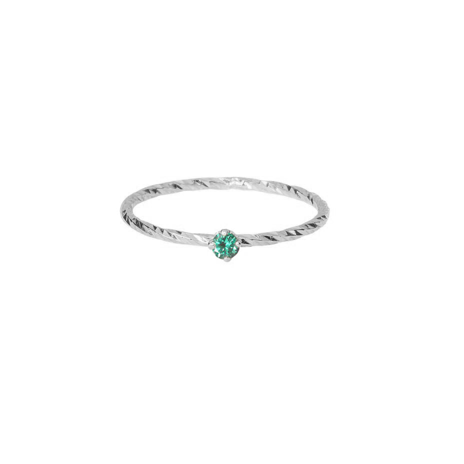 Emerald Stacking Ring - Silver