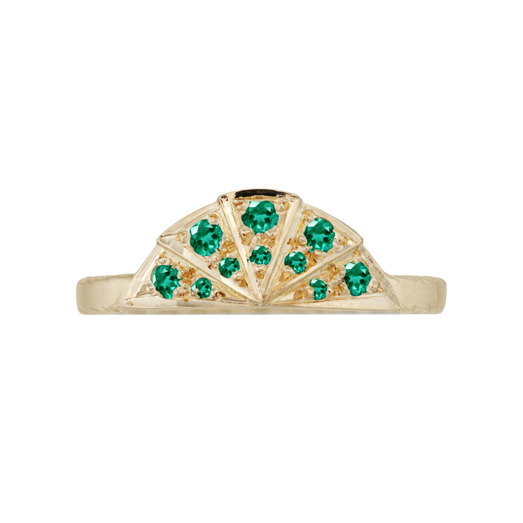 Emerald Sunbeam Wedding Band