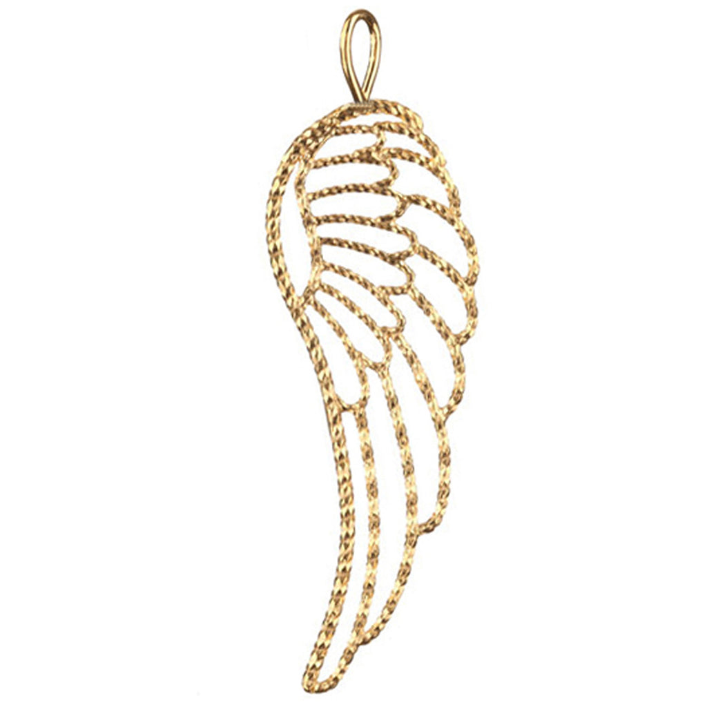 Endless Affection Wing charm in gold, featuring a large outlined wing charm made from diamond cut sparkling wire.