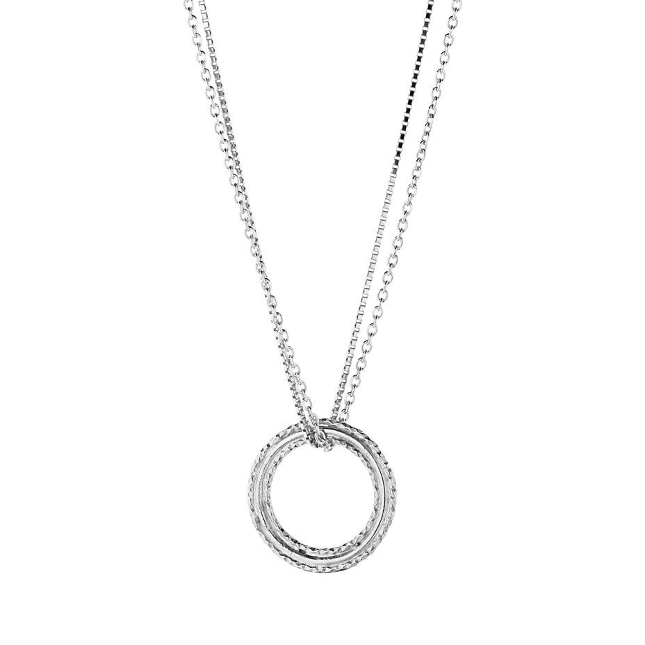 Eternal necklace in silver, featuring a double chain.