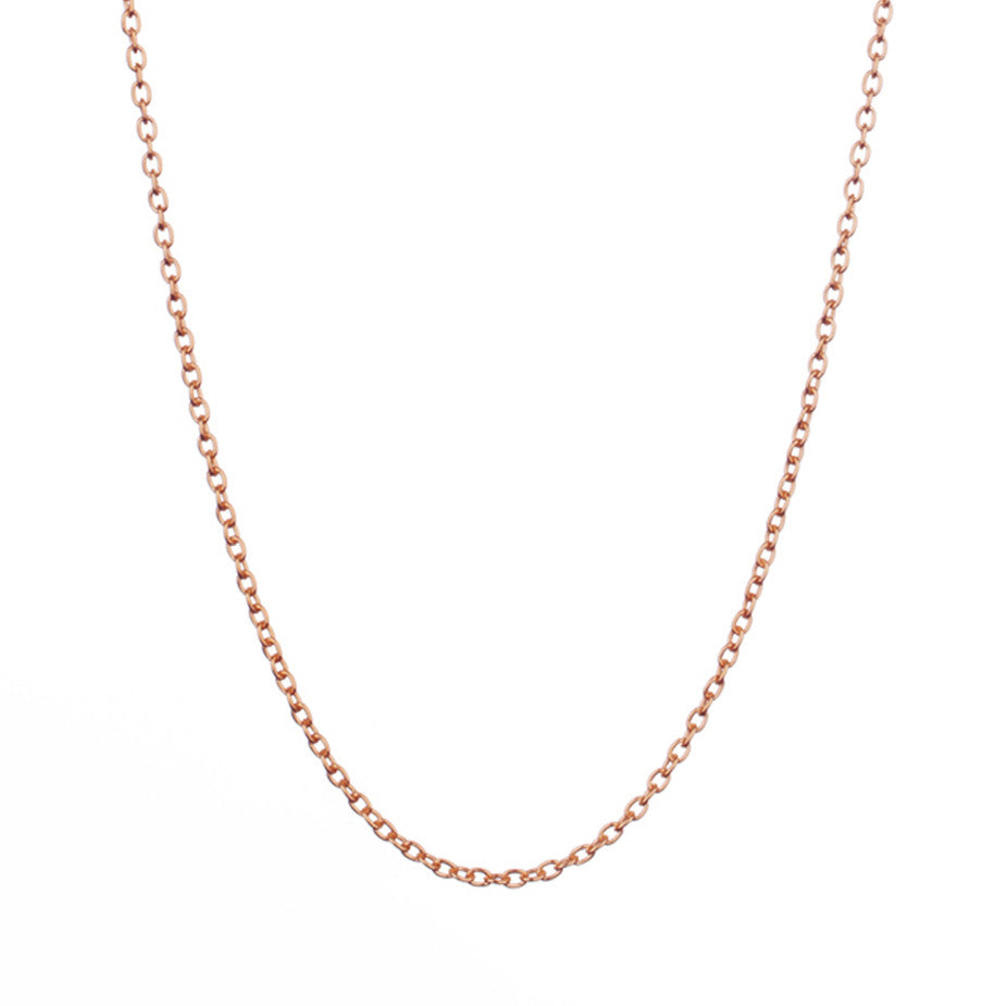 The Eternal Rolo Chain in rose gold, made from a weightier chain with oval links.