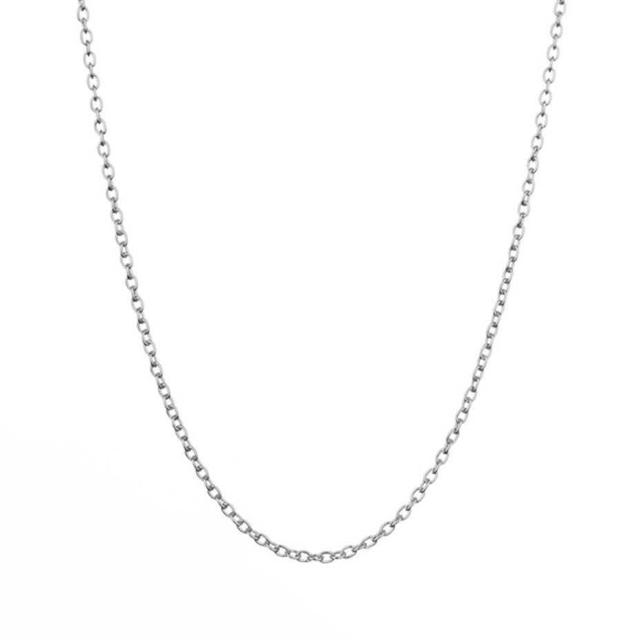 The Eternal Rolo Chain in silver, made from a weightier chain with oval links.
