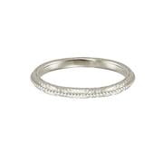 Eternal wedding band in 18 carat white gold, featuring a textured band with a beaded line across the centre.