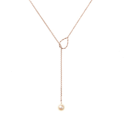 Full Moon White Pearl Lariat Necklace - Rose Gold
