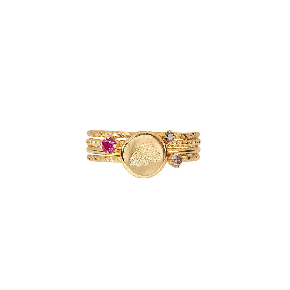 Full Of Power Stacking set in gold, featuring black diamond, red ruby, Energy Lion and champagne diamond rings.