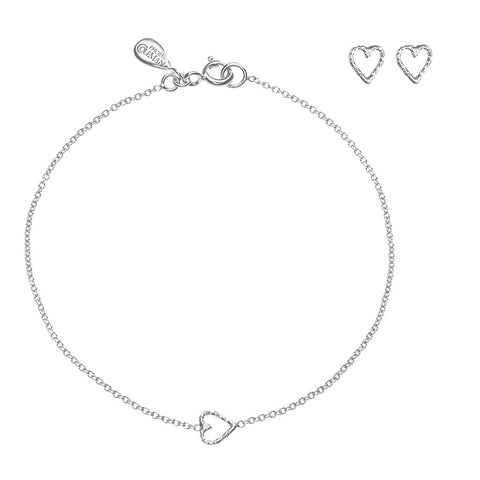 Love Me Tender silver gift set, featuring the Love Me Tender Hear bracelet and stud earrings.