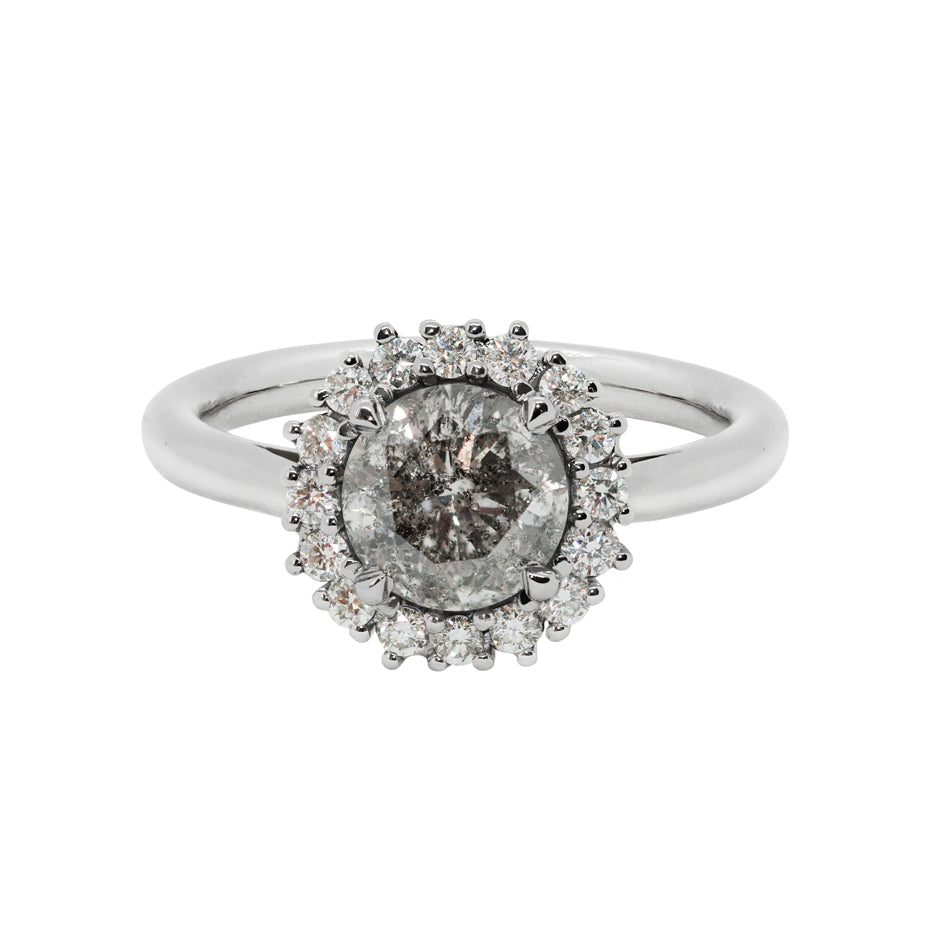 Galaxy Halo Engagement Ring - Salt & Pepper Diamond