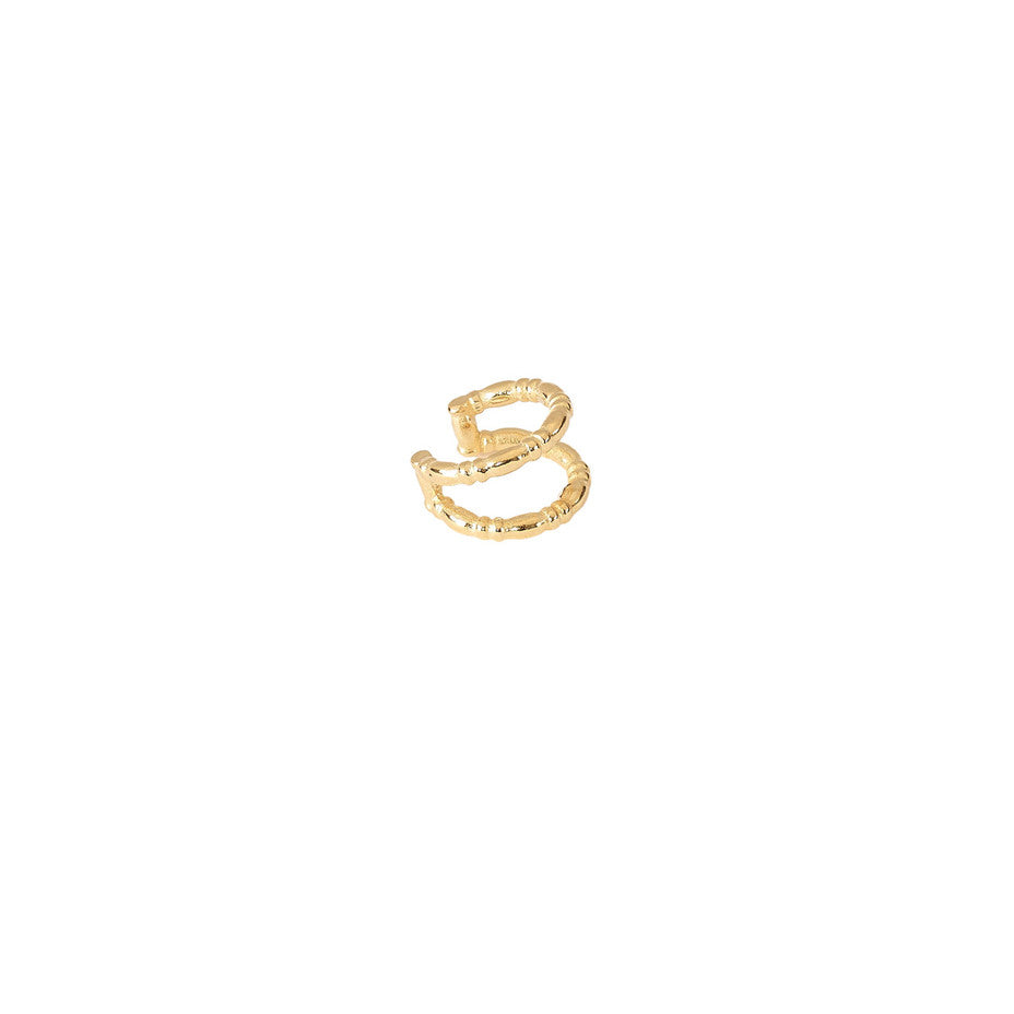Horseshoe Ear Cuff in gold, featuring a double banded ear cuff fashioned from our Equine wire.