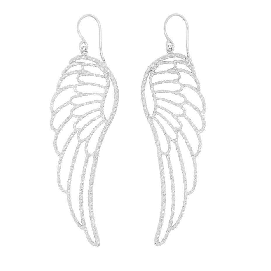 Large Angel Wing earrings in silver.