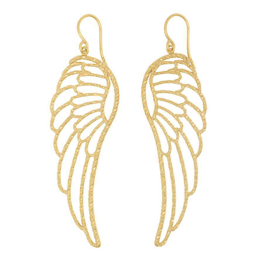 Large Angel Wing Earrings - Gold