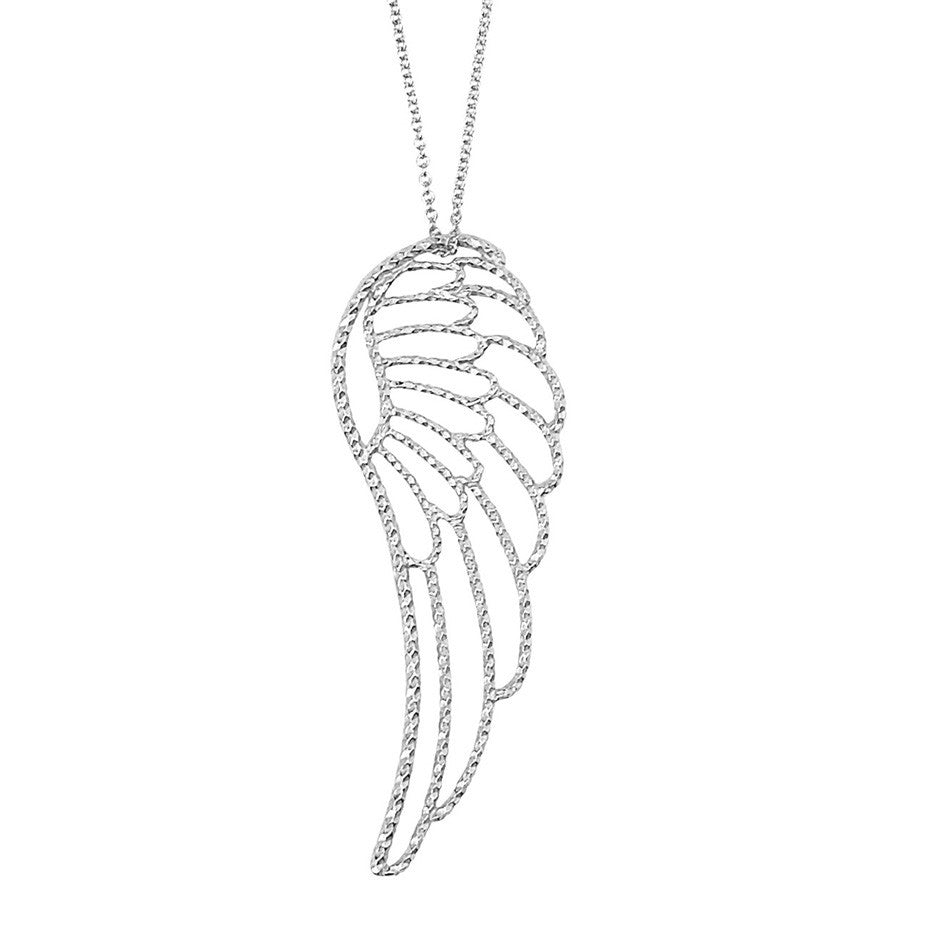 Large Angel Wing necklace in silver with our signature diamond cut wire.