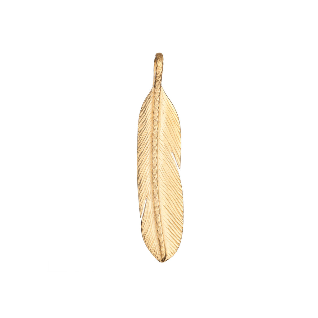 Sacred Large Feather charm in gold.