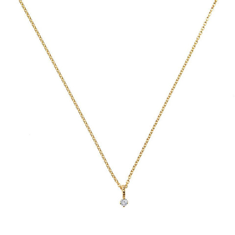 Lily White Diamond Pendant Necklace - Gold