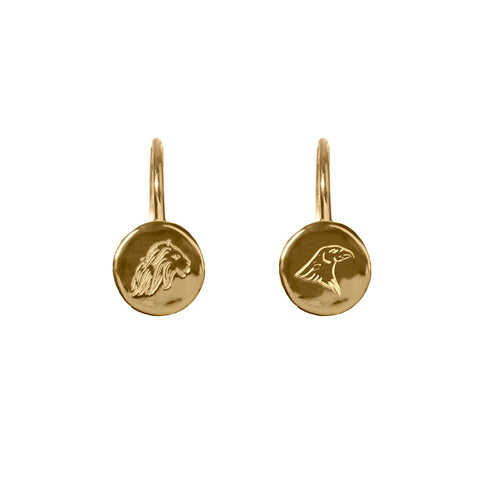 Energy and Time Lion and Eagle Hook earrings in gold, featuring delicately engraved lion and eagle emblems on coin shaped hook earrings.