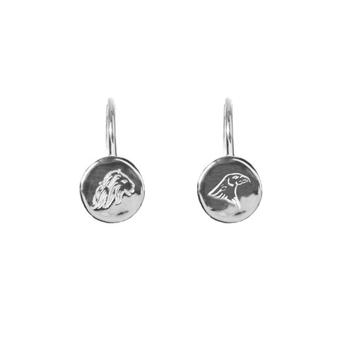 Energy and Time Lion and Eagle Hook earrings in silver, featuring delicately engraved lion and eagle emblems on coin shaped hook earrings.