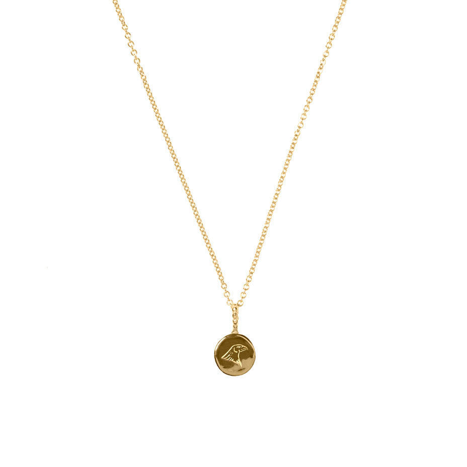 Energy and Time Lion and Eagle necklace in gold. Engraved onto smooth gold coins, reverse the symbol to suit your mood.