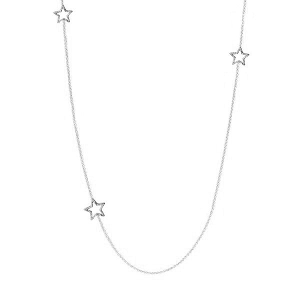 Estella Long Star Necklace - Silver
