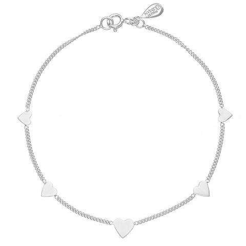 The Love-a-lot bracelet in silver, featuring five pretty mini hearts in graduating sizes.