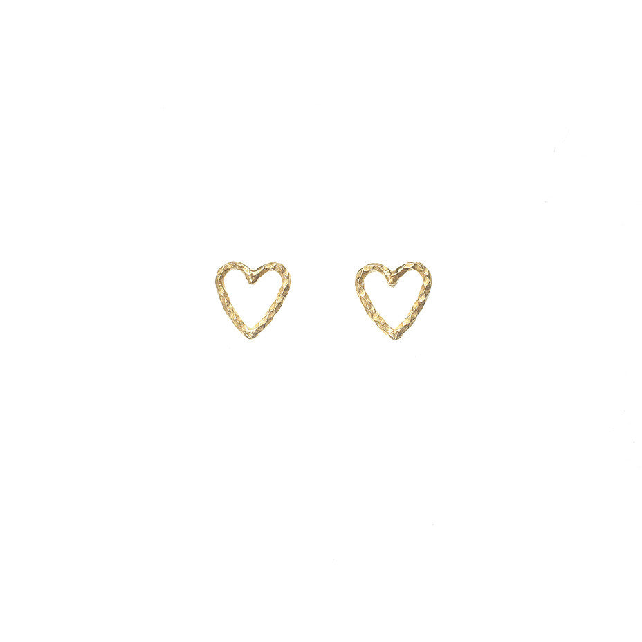 Love Me Tender Heart Stud earrings in gold. A lovely open heart stud earring made from our signature diamond cut wire.