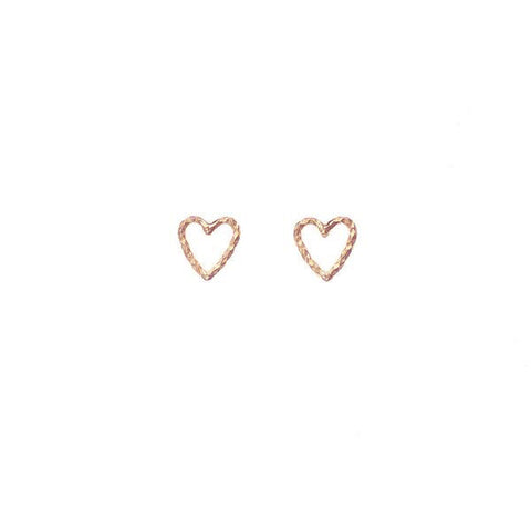 Love Me Tender Heart Stud Earrings - Rose Gold