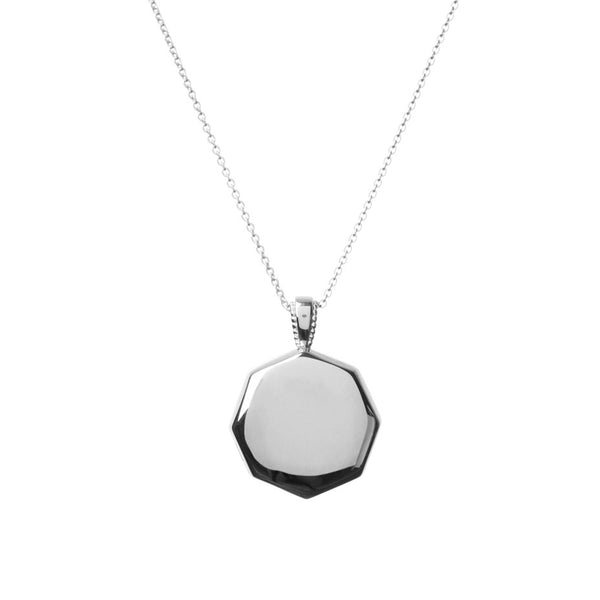Meteoroid Octagonal Locket in silver, made from a beautiful octagon shape with the option of engraving.