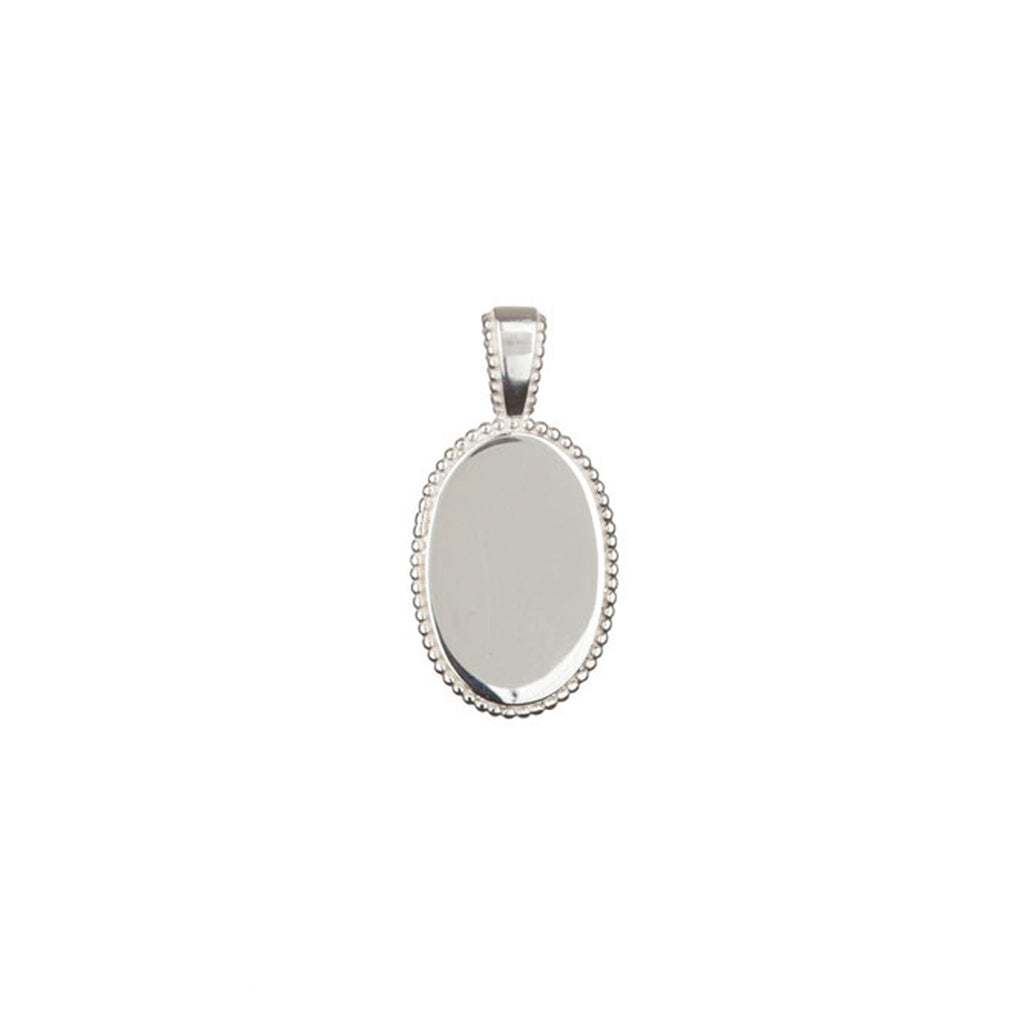 Mindful Oval Disc charm in silver, featuring a beautiful beaded oval shape.