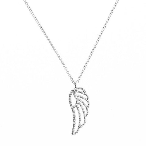 Mini Angel Wing necklace in silver, made from our signature sparkling diamond cut wire.