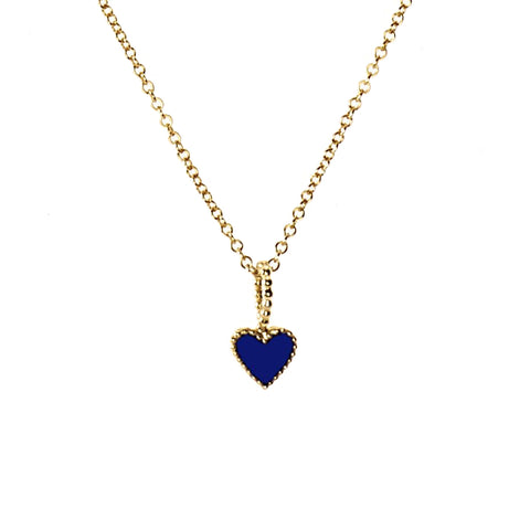 Navy Heart Necklace - Gold