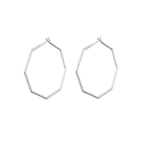 Supernova Octagonal Hoop earrings in silver.