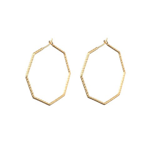Supernova Octagonal Hoop earrings in gold.