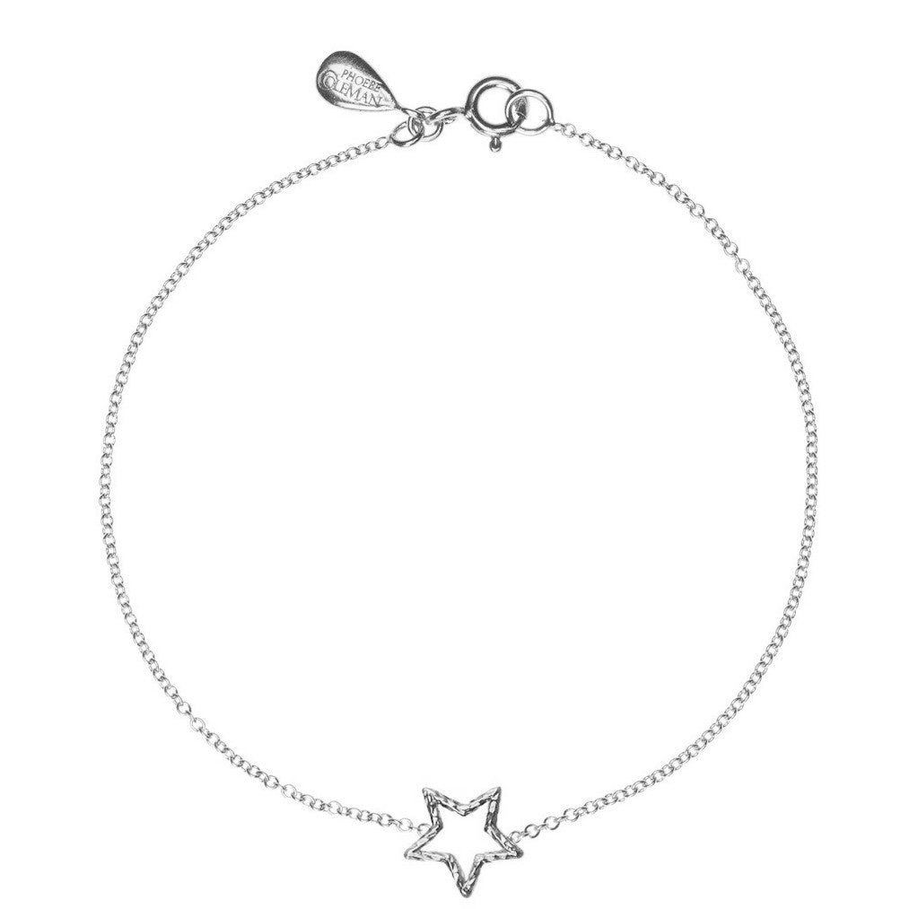 Estella Star bracelet in silver, featuring a shining star made from our signature sparkling wire.