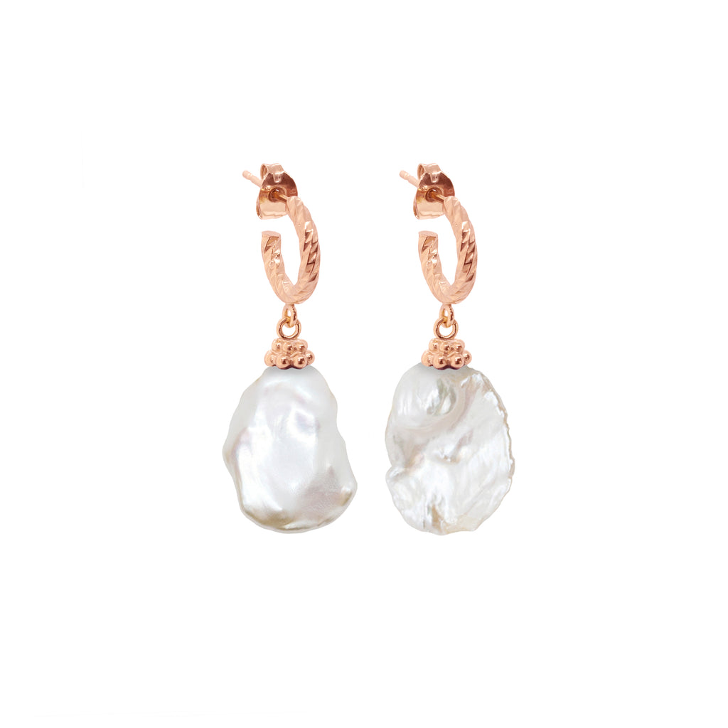 Moon Nuggets Freshwater Pearl Earrings - Rose Gold