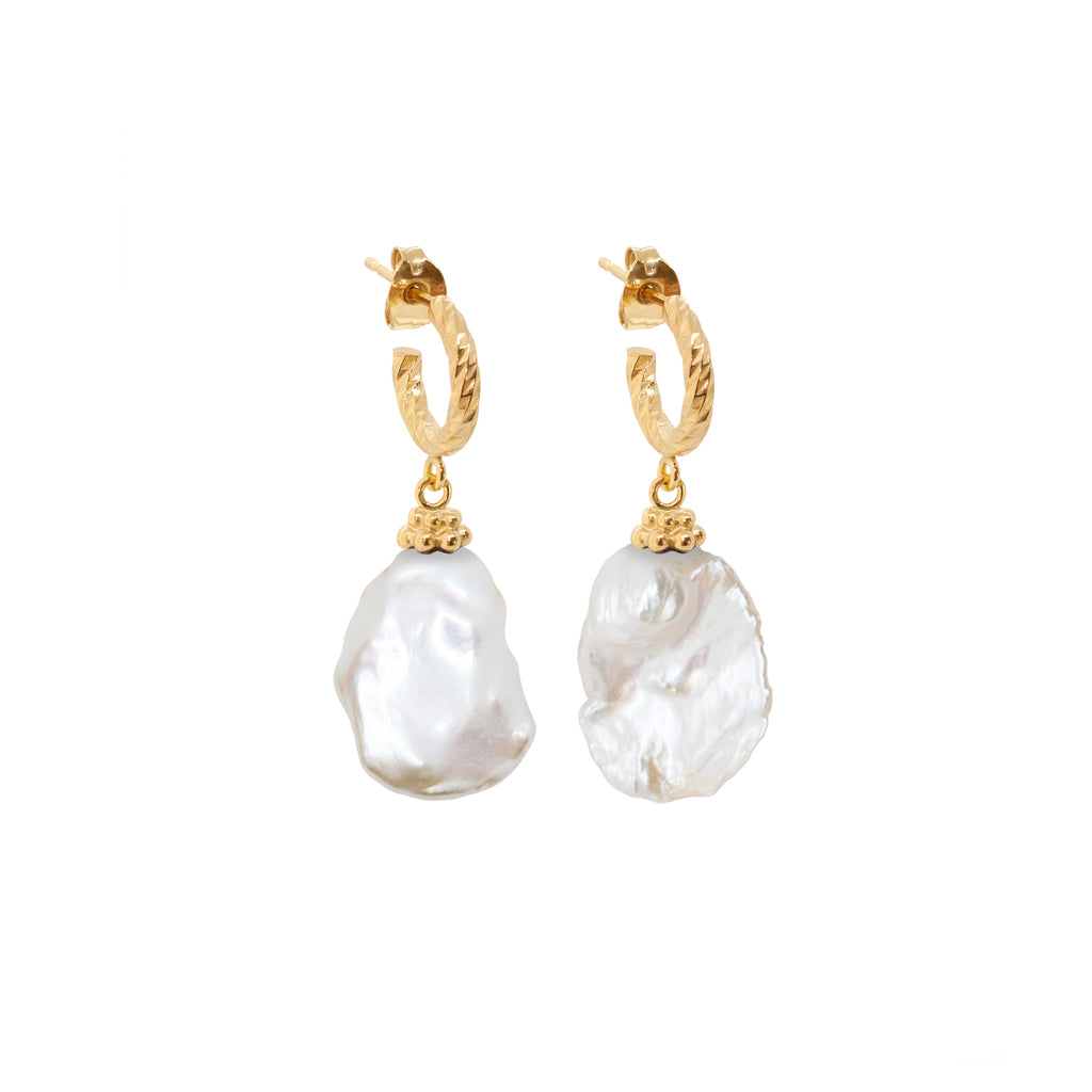 Moon Nuggets Freshwater Pearl Earrings - Gold