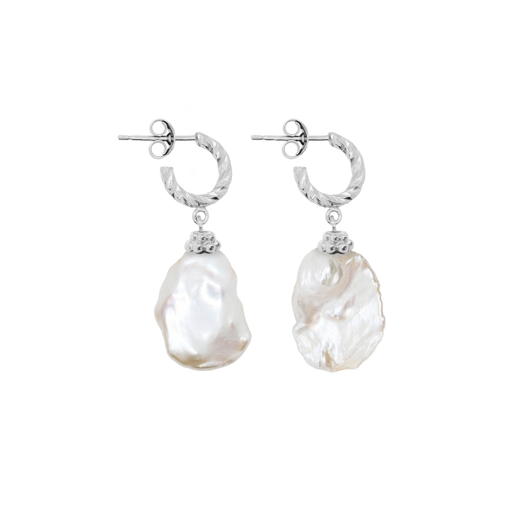 Moon Nuggets Freshwater Pearl Earrings - Silver