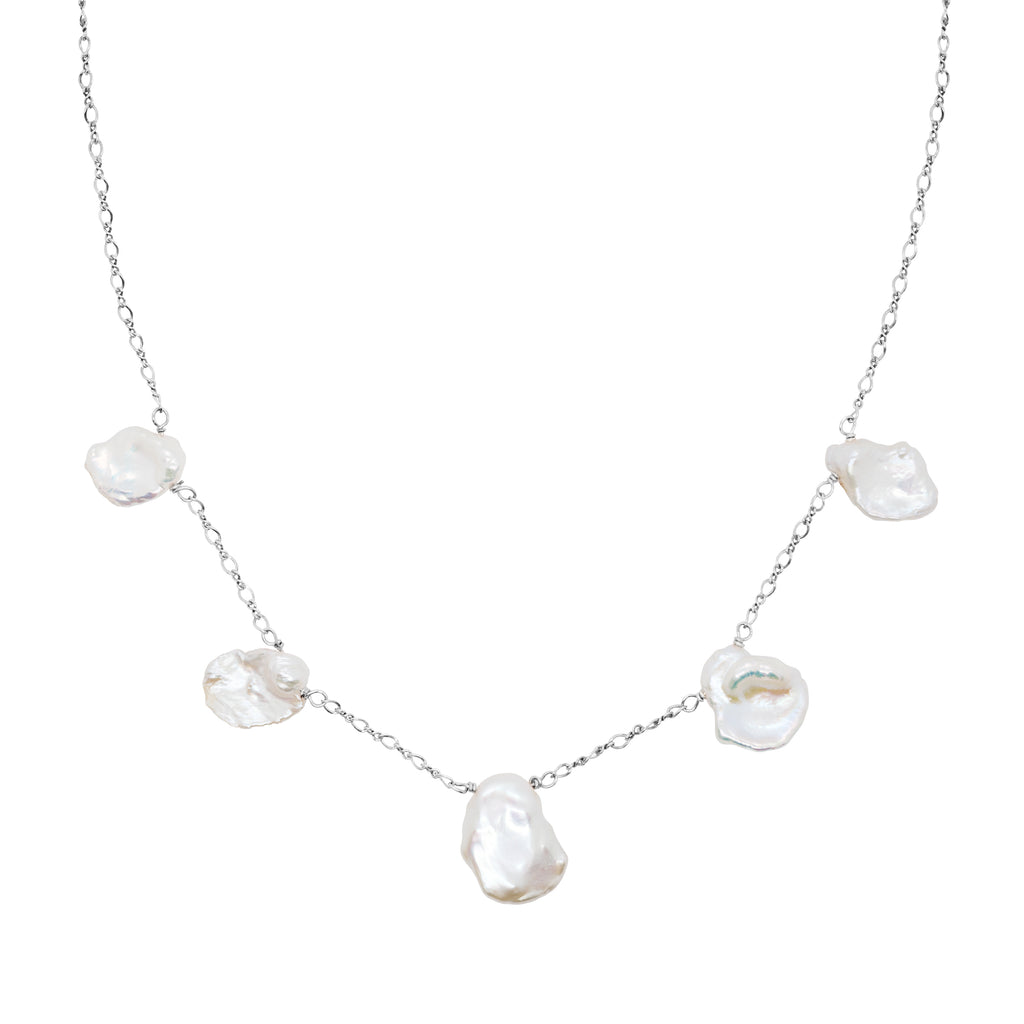 Moon Nuggets Fresh Water Pearl Necklace - Silver