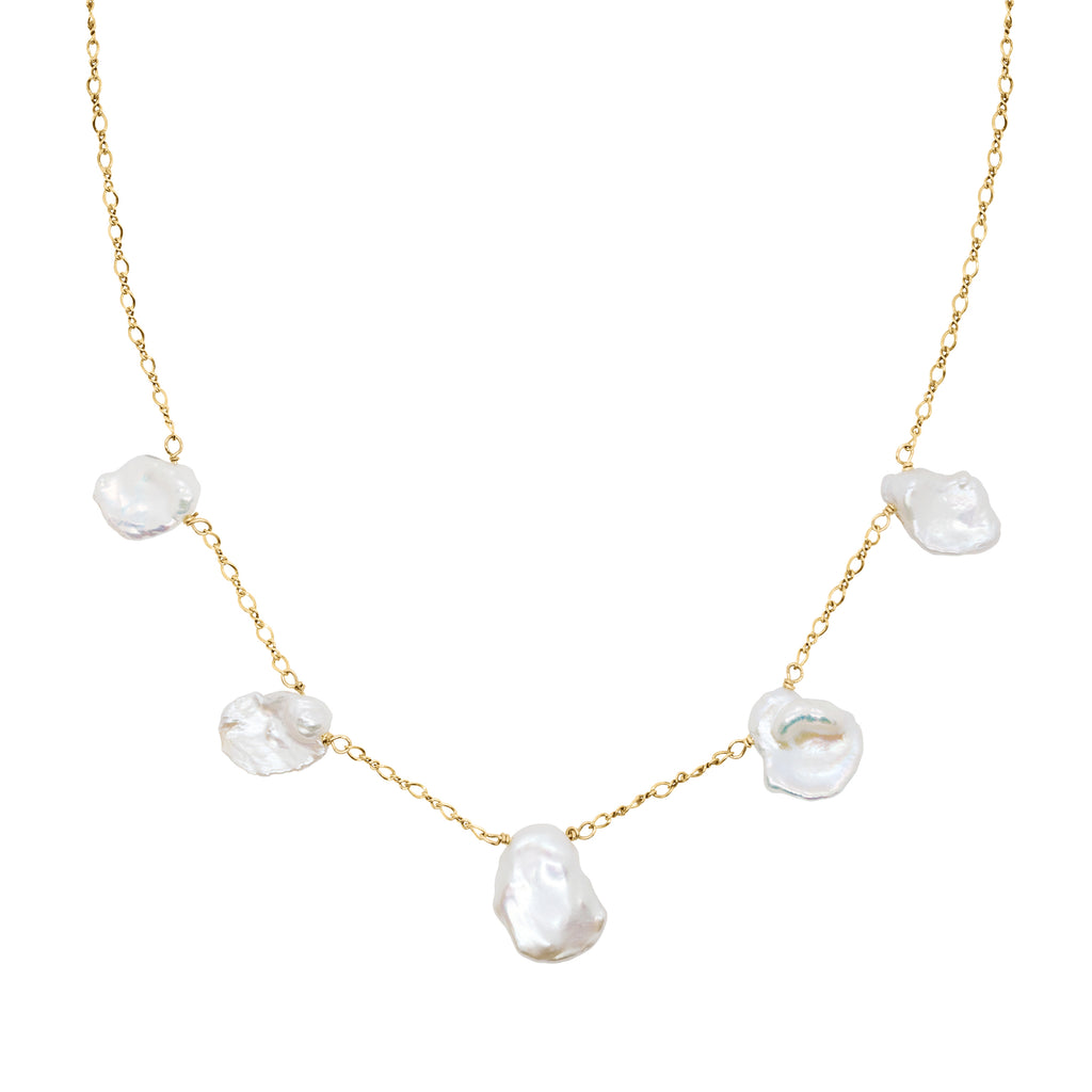 Moon Nuggets Fresh Water Pearl Necklace - Gold