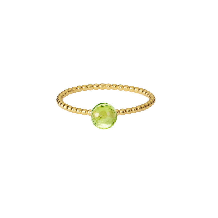 Green Goddess Peridot Stacking Ring - Gold